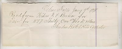1878 Glens Falls Ny Tax Receipt From Widow Brown - Theodore Hatchkiss Collector