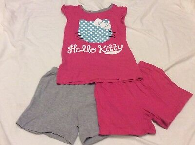 Girls Hello Kitty Pyjamas T-shirt And Shorts Set Pink Grey Age 4-6 Years