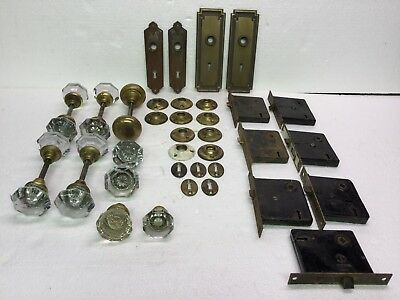 Lot 34 Pieces Antique Door Hardware Glass Knob Sets Mortise Back Plates