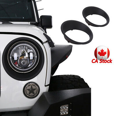 2x Matte Black Bezels Front Headlight Trim Cover For Jeep Wrangler JK 2007-2018