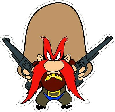 "Looney Tunes Yosemite Sam 2 Gun bumper sticker wall decor vinyl decal, 5""x 4.8"""
