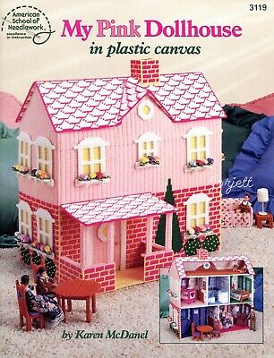My Pink Dollhouse ~ Playhouse & Furniture plastic canvas pattern booklet USED