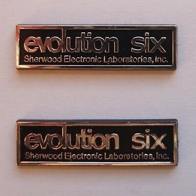 vintage pair of grille emblems from rare SHERWOOD Evolution Six speakers, 1975