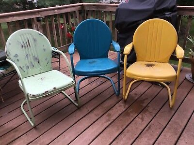 Vintage 1950's Metal Outdoor Patio Chairs -3