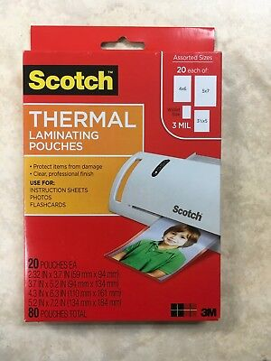 80 3M Scotch Thermal Laminating Pouches 5x7 4x6 3x5 & Wallet Size 20 of EACH