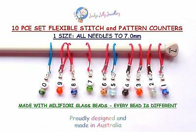 10 PCS NUMBERED FLEXIBLE KNITTING STITCH & PATTERN COUNTERS FIT TO 7.0mm NEEDLE