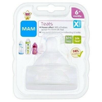 MAM Baby Bottle Teats 2 Pack Cross Cut MAM Teats 6 Months+ Fast Flow C-Cut Teats