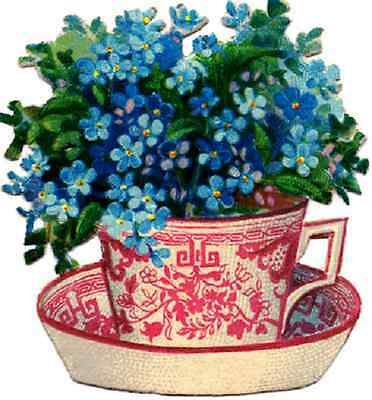 30 Custom Blue Flowers in Tea Cup Personalized Address Labels