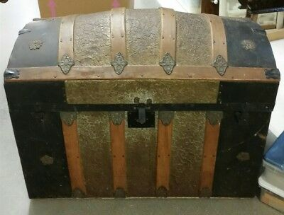 Antique Hump Back Steamer Trunk