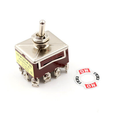 Toggle Switch 3 Position 12 Pin 4PDT ON-OFF-ON 10A/380VAC 15A/250VAC FR