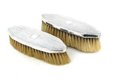 Art Deco Sterling Silver Clothes Brushes Pair Engine Turned Birmingham 1931