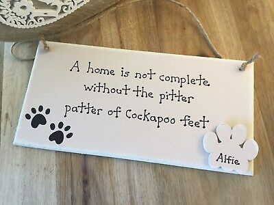 Personalised Cockapoo Gift Sign Dog Lover Gift Handmade Plaque