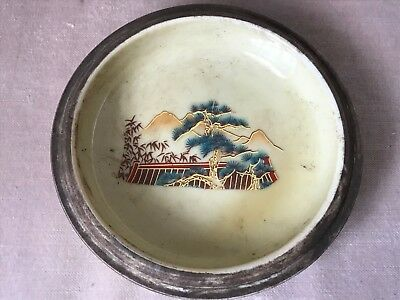 Qianlong Style Oriental Hand Painted Mountains & Butterflies Ashtray 1920's