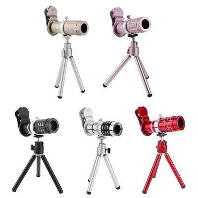 12x Clip-on Optical Zoom Phone Telescope Camera Lens w/ Tripod for iPhone XS Lot