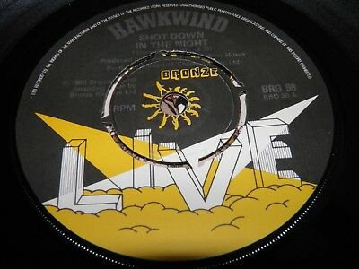 "Hawkwind - Shot Down In The Night 7"" Single Vinyl 1st Press A2/B1 EXCELLENT"