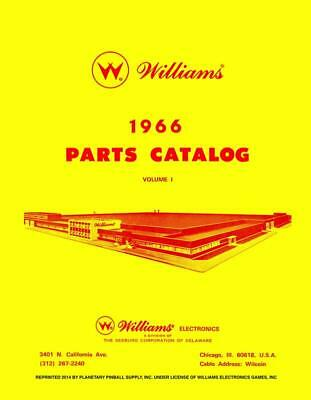 1966 Williams Pinball Machine Parts Catalog Volume 1 Service & Repair Manual PPS