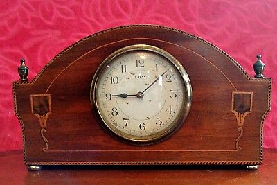 Antique French 'Japy Freres' 8-Day Mantel Clock, Oak Case with Inlay