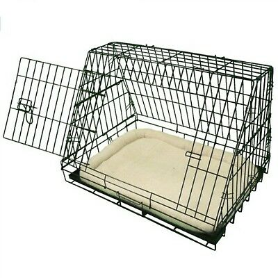 Dog Crate Cushioned Sloping Puppy Cage Folding Medium Cages Non-Chew Metal Tray