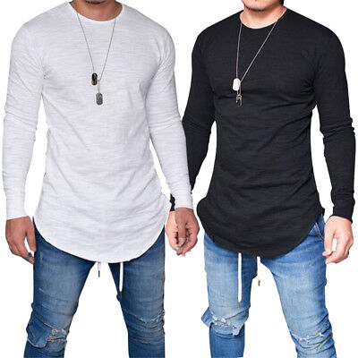 Men Cotton Long Sleeve Round Neck T Shirt Casual Tops Blouse Outdoor Muscle Tee