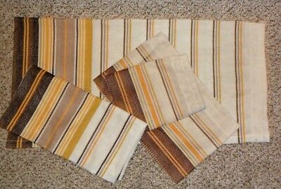 Vintage Everlon cafe curtains & valances / 1950's / brown, yellow, tan / rare