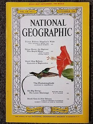 Vintage the world wall map national geographic november 1960 mint national geographic magazine november 1960 with map of the world hummingbird gumiabroncs Image collections