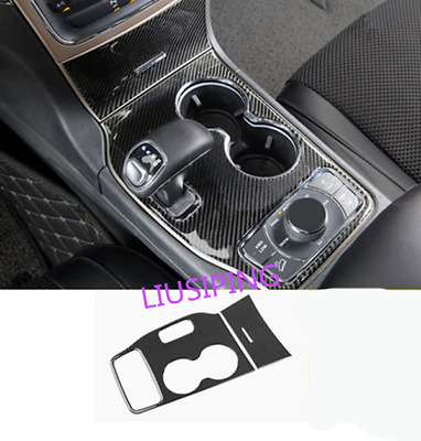 Real Carbon Fiber Water Cup Holder Frame Trim For Jeep Grand Cherokee 2014 2015