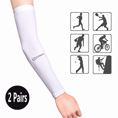 Black Silk UV-Protection Unisex Cooling Arm Sleeves For Outdoor Sports US SHIP