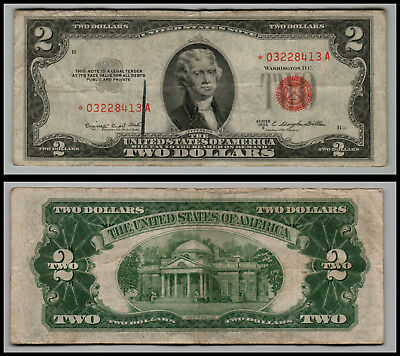 1953B  Star $ 2 Dollar United States Note Red Seal G328
