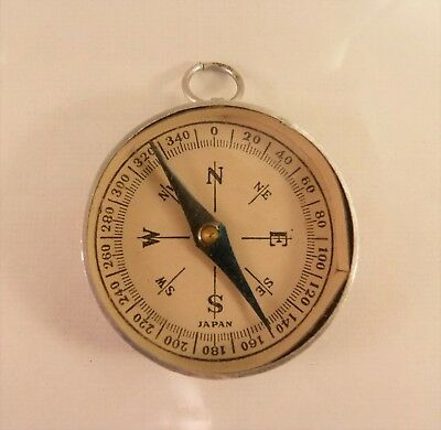 JAPAN working compass mirror signaler tin aluminum or use for steampunk art vtg