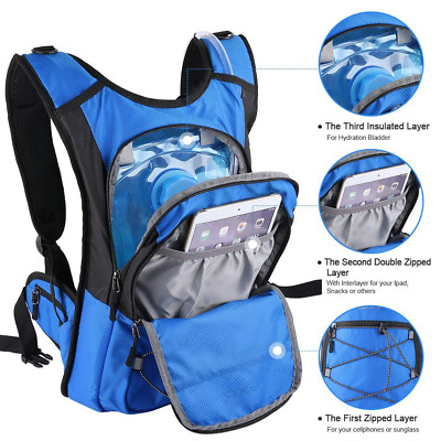 2L Thermal Insulation Layer Keeps Cool 4 Hours Hydration Backpack Water Bladder