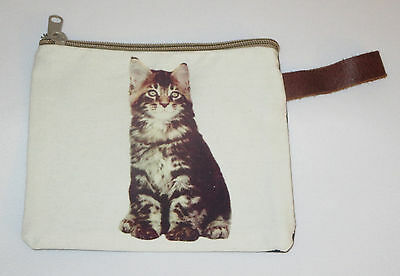 """Striped Cat Makeup Bag Tabby Leather Strap New Zippered 4"""" x 6"""" Kitten Kitty"""