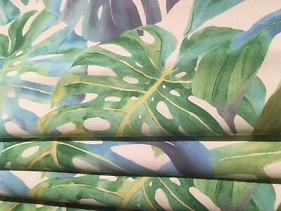 ROMAN BLIND in TROPICAL PALM TREE LEAF GREEN BLUE Fabric MADE TO MEASURE