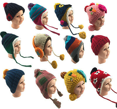 *50 Kids Baby Snow Winer Hats Knitted Boys Girls Warm full lining Various Colour