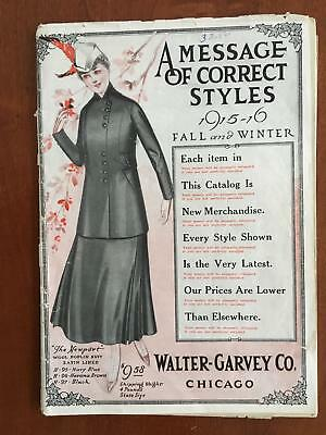 1915 Walter Garvey Co. Women's Fashion Clothing Catalog Millinery More Antique