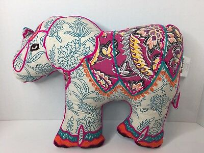 Pier 1 Imports Elephant Floral Embroidered Pillow Decor Plush