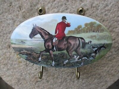 Vintage In Brass And Porcelain With Hunting Scene Double Coat Hanging Hook
