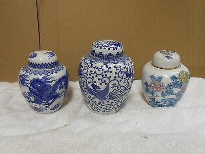 set of 3 japan porcelain blue white dragon flowers ginger jars flower pot home