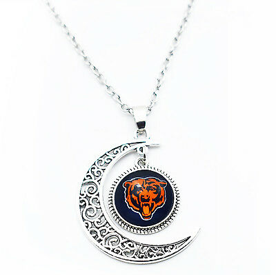 Chicago Bears Team Logo Necklace Glass Charm Crescent Moon Pendant Jewelry Women