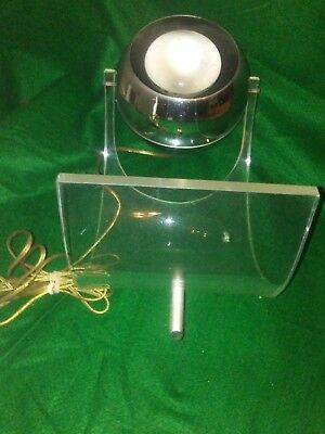 1970's Vintage- Retro- Table Lamp- Lucite and Chrome- Space Age Globe- Big Eye