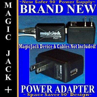 Static Free Power Adapter Supply BLK Wall Charger For MagicJack Plus Go Express
