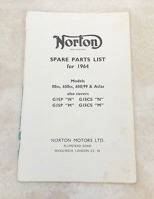 Original NORTON Spares List for 1964 PARTS CATALOG Missing Cover 0714-2