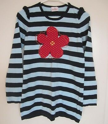 7b16b2f0d5 Hanna Andersson 150 Dress 12 Blue Stripe Red Yellow Flower Knit Sweater  Girls