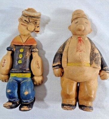 Vintage 1935 Popeye & Wimpy Comic King Features Rubber Toy Doll Figure Dry Rot