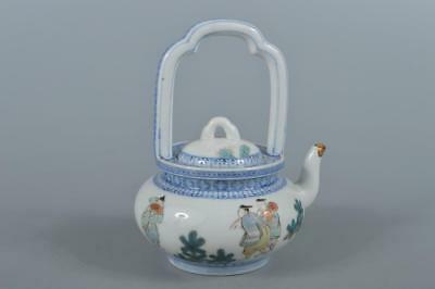 R3805: Japan Old Arita-ware Colored porcelain Person pattern TEAPOT Kyusu Sencha