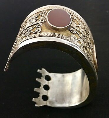 Antique Turkoman late 1800's Handmade silver and Carnelian Teke Tribe Bilezik