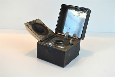 Original antique Victorian traveling inkwell leather covered ink well