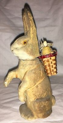 Antique German Paper Mache Standing Rabbit Candy Container With Basket