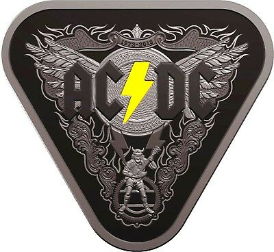 ⚡️⚡️2018 $5 Proof Ac⚡Dc 45 Years Of Thunder⚡️guitar Pick⚡️pay Only $180⚡️⚡️