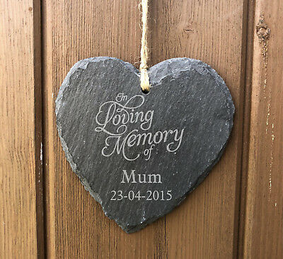 Personalised In Loving Memory Hanging Heart Slate Memorial Grave Plaque  Mum Dad
