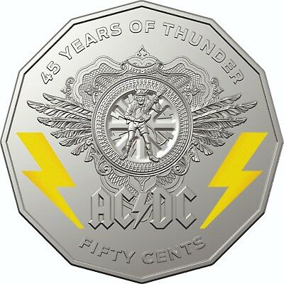 ⚡️⚡️ 2018 50 CENT AC/DC CARDED COLOURED Cu Ni 45 YEARS OF THUNDER⚡️SOLD OUT⚡️